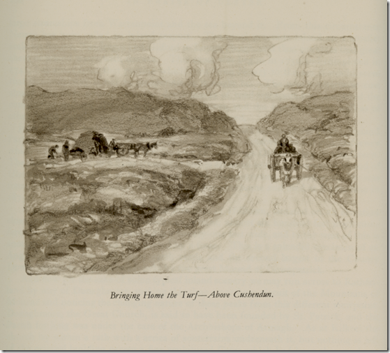Craig produced forty-eight wash drawings for In Praise of Ulster, including this sketch of turf cutters in Cushendun